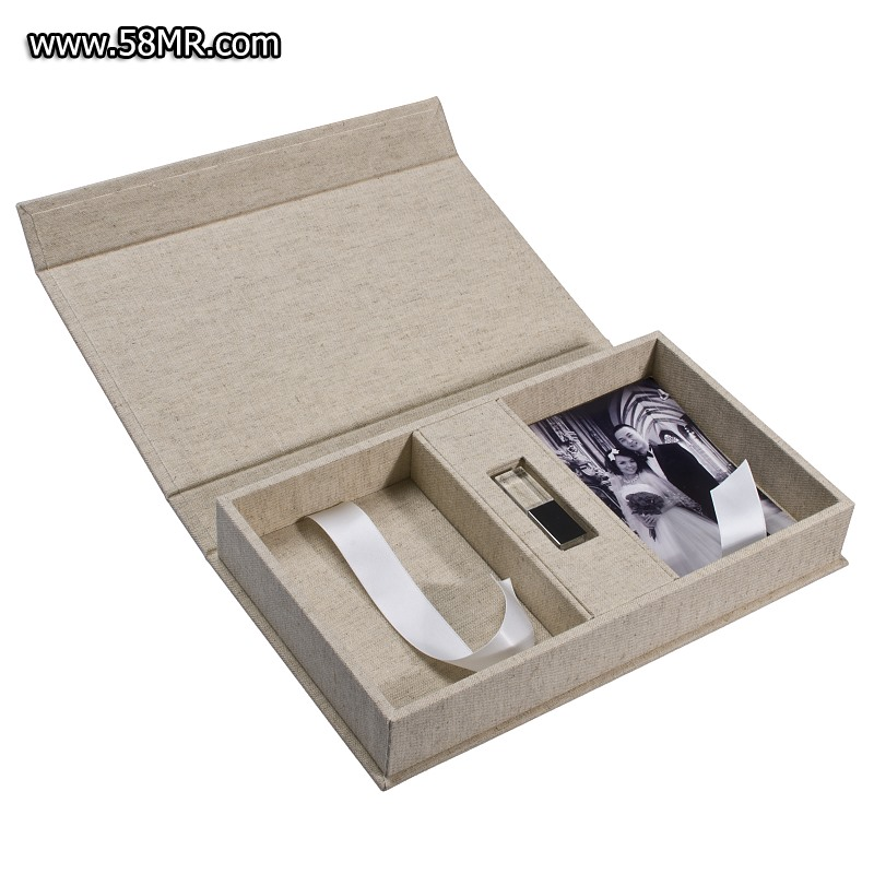 natural linen Photo USB Packaging Box